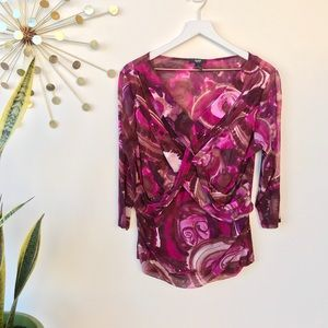 Alfani woman twist front pink purple floral top 1X